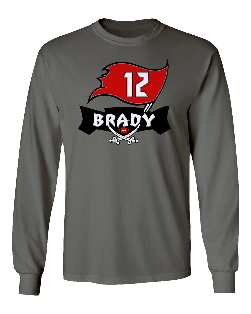Red Mens Crew Neck Tampa Bay Buccaneers Cut And Sew Long Sleeve T-Shirt